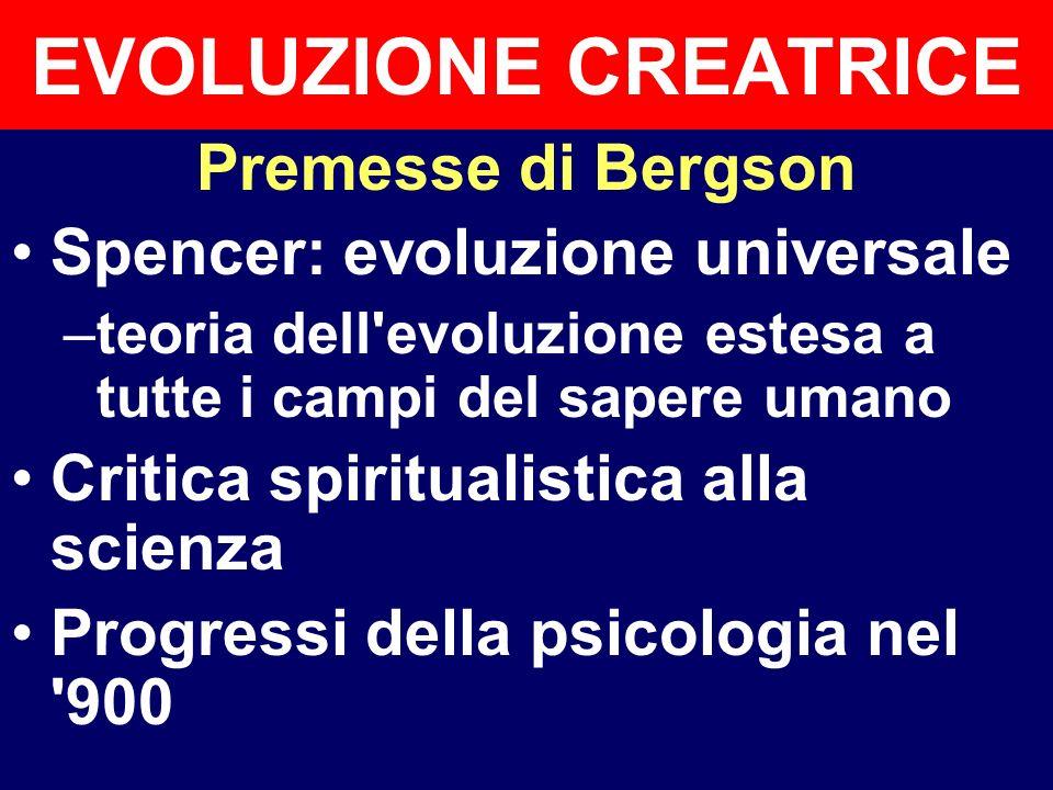 EVOLUZIONE CREATRICE Premesse di Bergson
