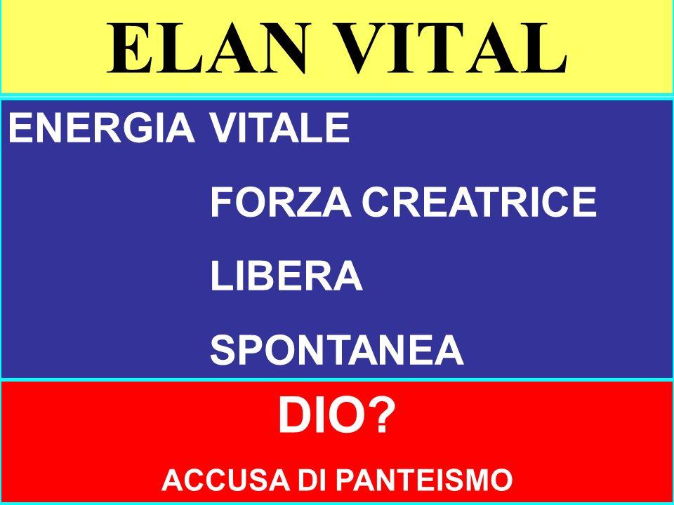 ELAN VITAL DIO ENERGIA VITALE FORZA CREATRICE LIBERA SPONTANEA
