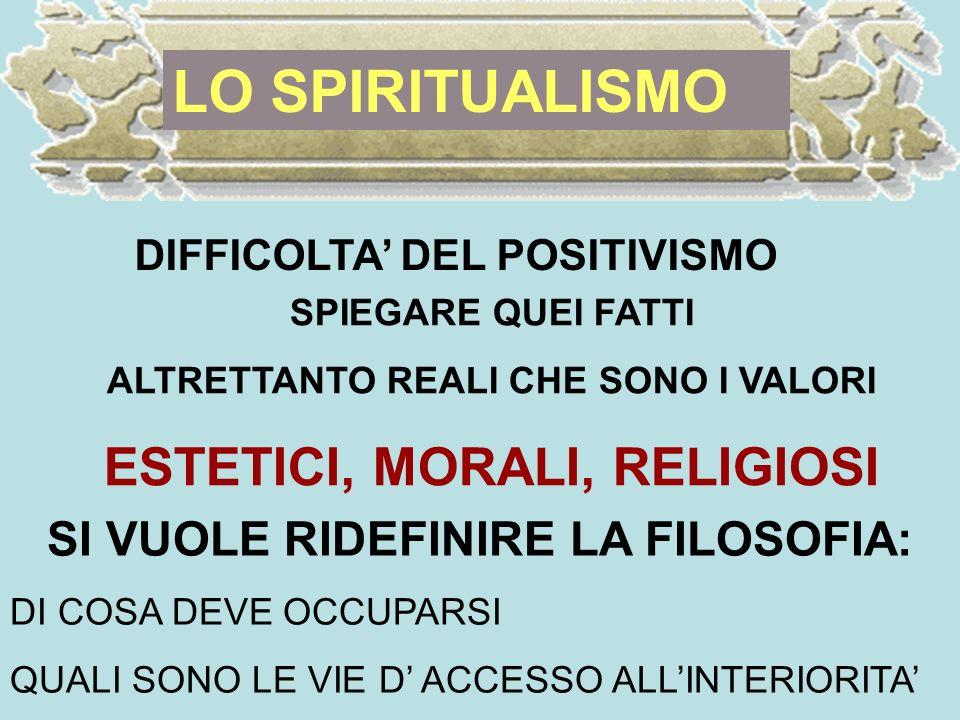 LO SPIRITUALISMO ESTETICI, MORALI, RELIGIOSI