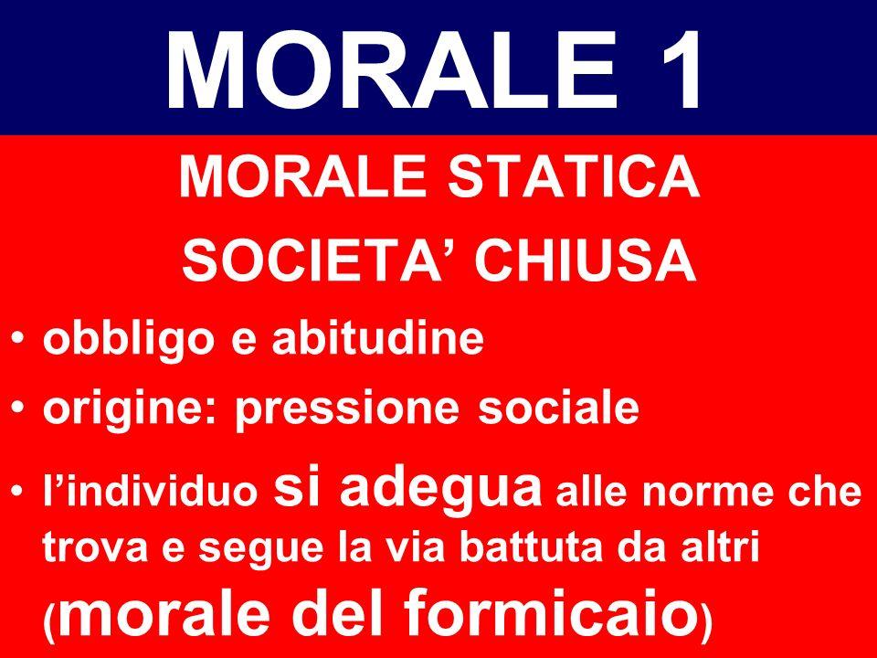 MORALE 1 MORALE STATICA SOCIETA' CHIUSA obbligo e abitudine