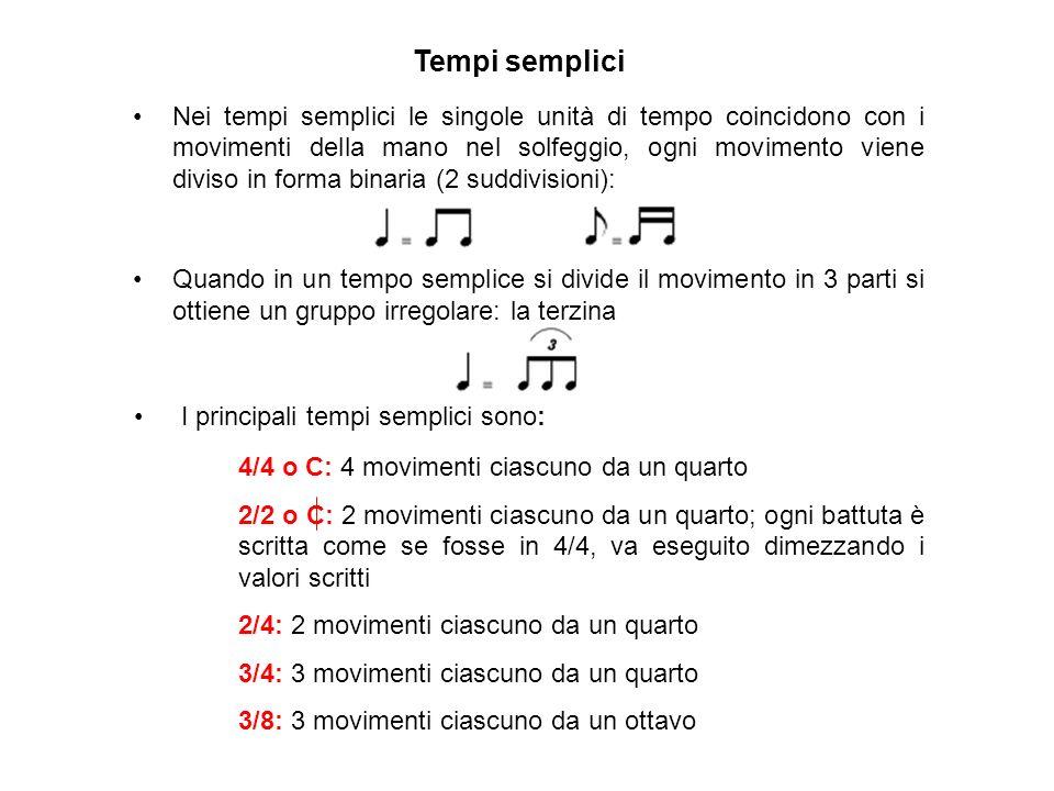 4/4 o C: 4 movimenti ciascuno da un quarto