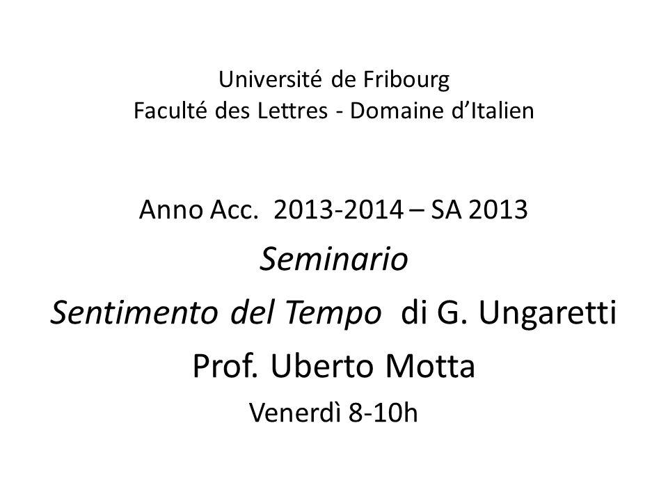 Université de Fribourg Faculté des Lettres - Domaine d'Italien