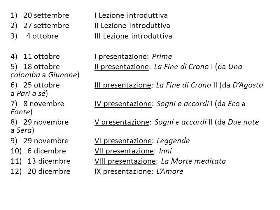 1) 20 settembre I Lezione introduttiva