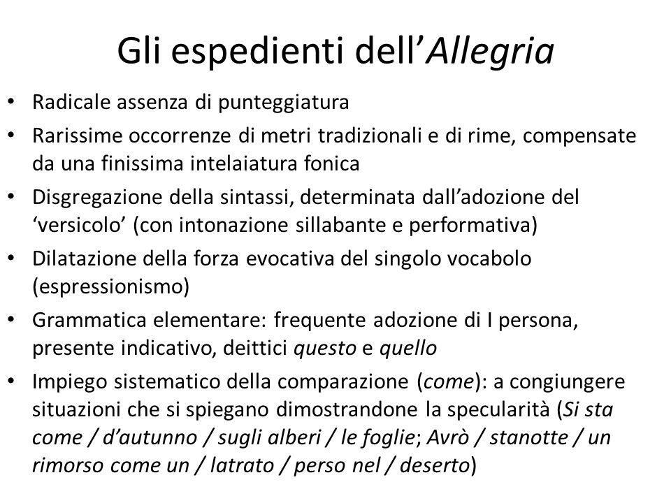 Gli espedienti dell'Allegria