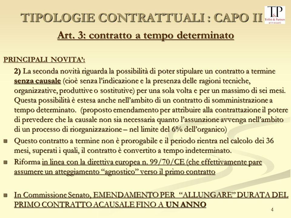 TIPOLOGIE CONTRATTUALI : CAPO II