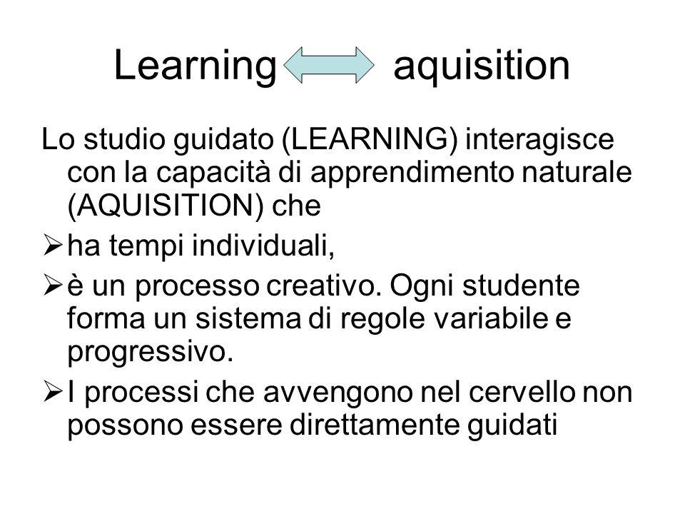 Learning aquisition Lo studio guidato (LEARNING) interagisce con la capacità di apprendimento naturale (AQUISITION) che.