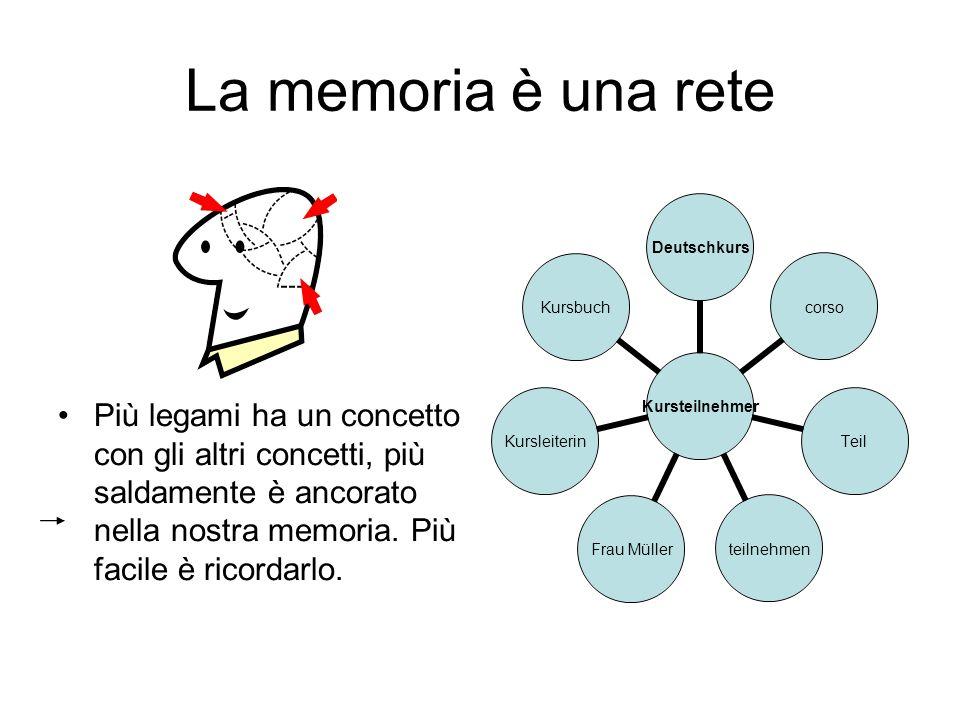 La memoria è una rete Più legami ha un concetto con gli altri concetti, più saldamente è ancorato nella nostra memoria.