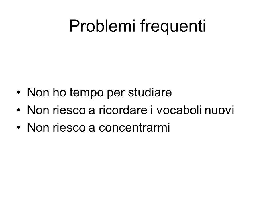 Problemi frequenti Non ho tempo per studiare