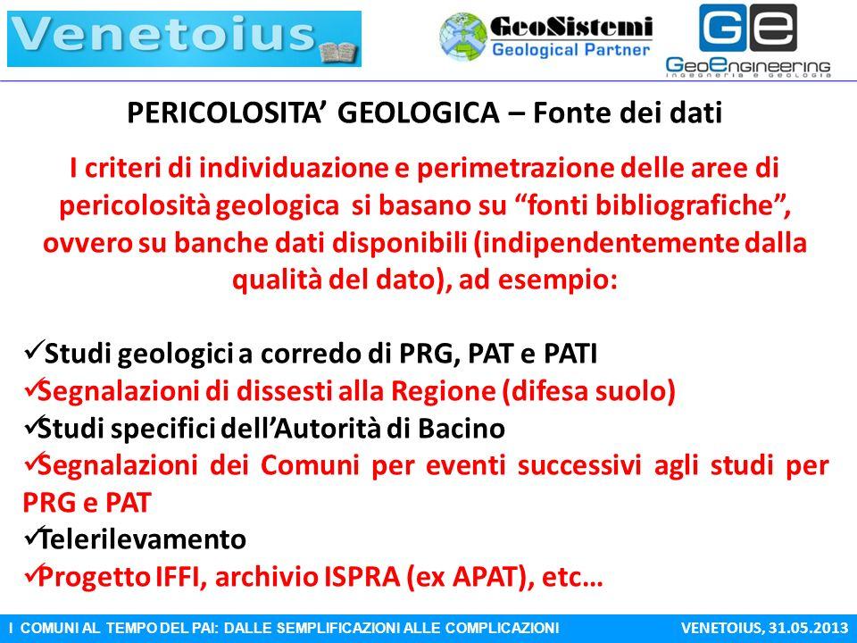 PERICOLOSITA' GEOLOGICA – Fonte dei dati