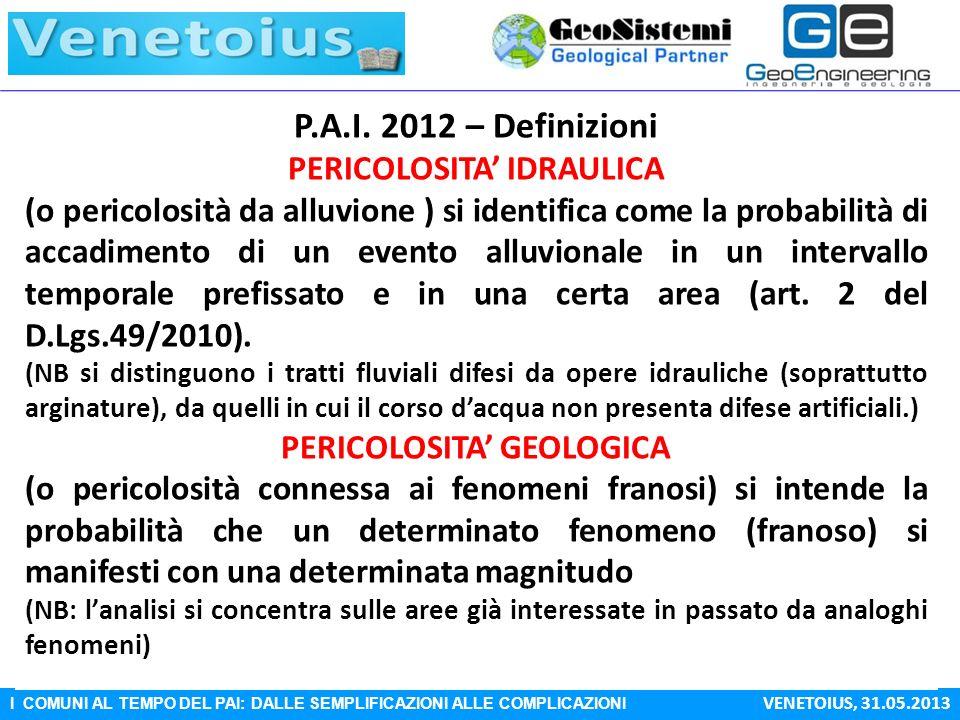 PERICOLOSITA' IDRAULICA PERICOLOSITA' GEOLOGICA