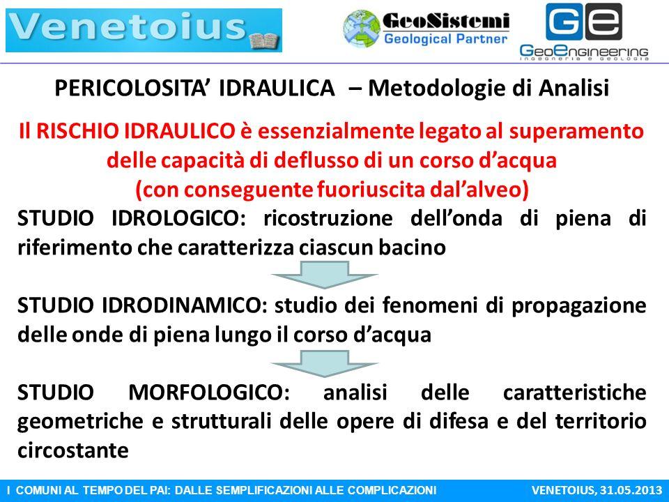 PERICOLOSITA' IDRAULICA – Metodologie di Analisi