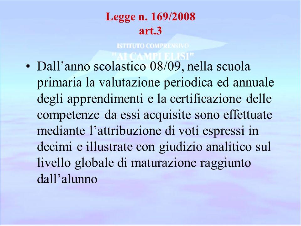 Legge n. 169/2008 art.3