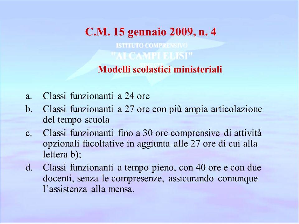 C.M. 15 gennaio 2009, n. 4 Modelli scolastici ministeriali