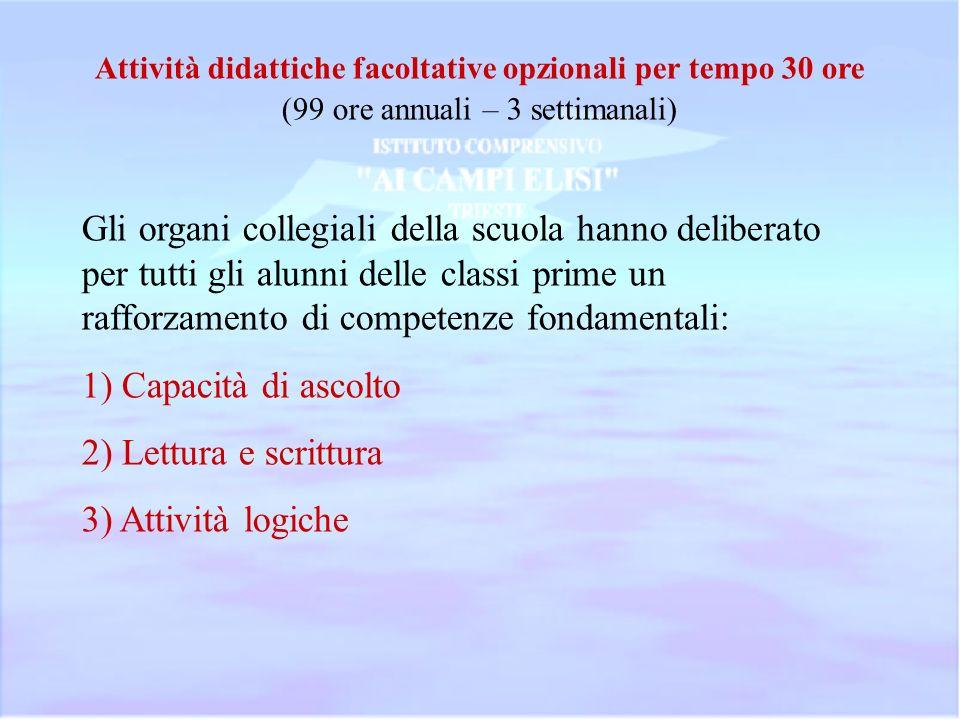 Attività didattiche facoltative opzionali per tempo 30 ore
