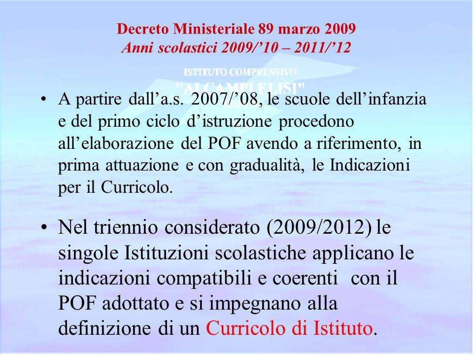 Decreto Ministeriale 89 marzo 2009 Anni scolastici 2009/'10 – 2011/'12