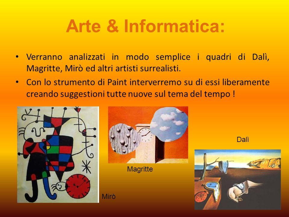 Arte & Informatica: Verranno analizzati in modo semplice i quadri di Dalì, Magritte, Mirò ed altri artisti surrealisti.