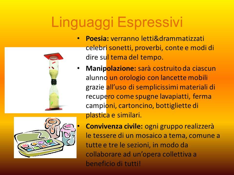 Linguaggi Espressivi Poesia: verranno letti&drammatizzati celebri sonetti, proverbi, conte e modi di dire sul tema del tempo.