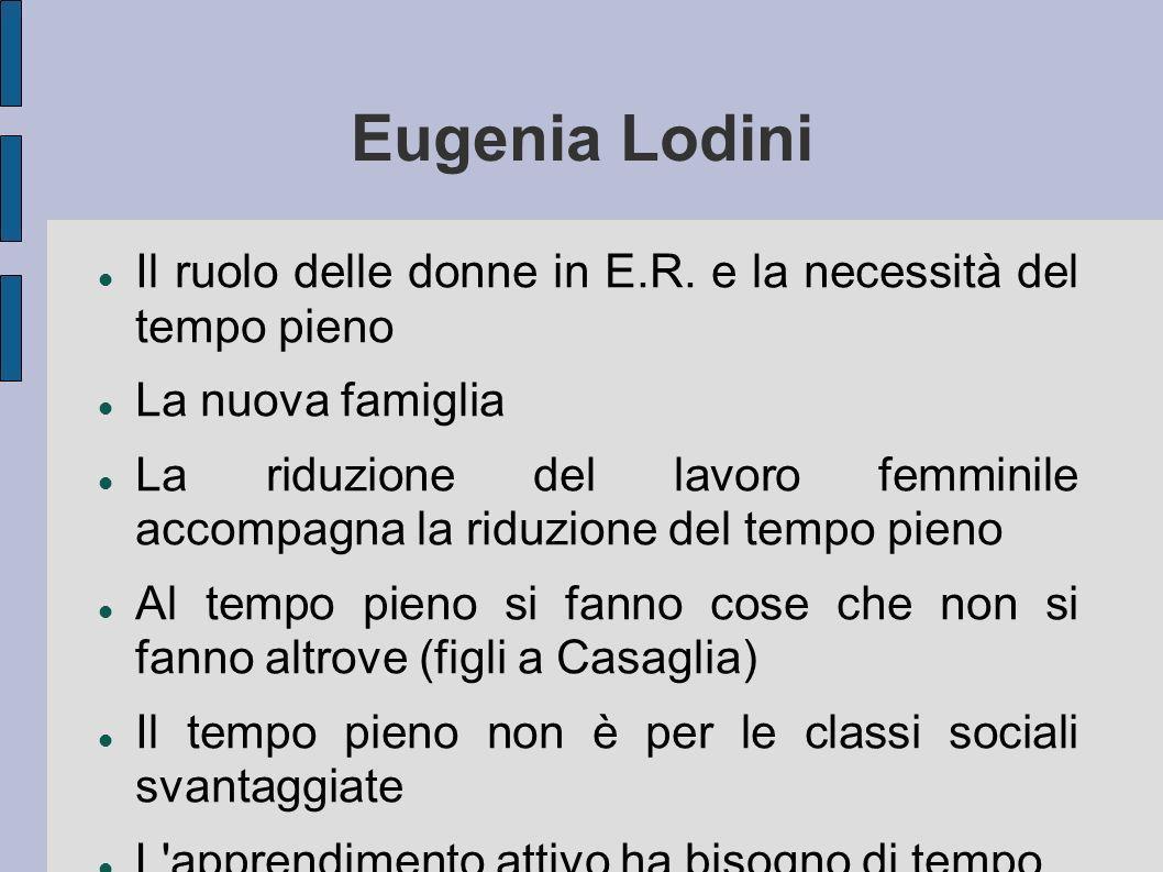Eugenia Lodini Il ruolo delle donne in E.R. e la necessità del tempo pieno. La nuova famiglia.