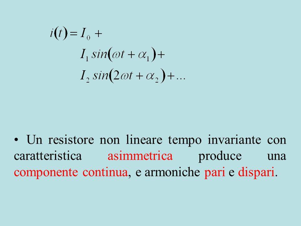 Un resistore non lineare tempo invariante con caratteristica asimmetrica produce una componente continua, e armoniche pari e dispari.