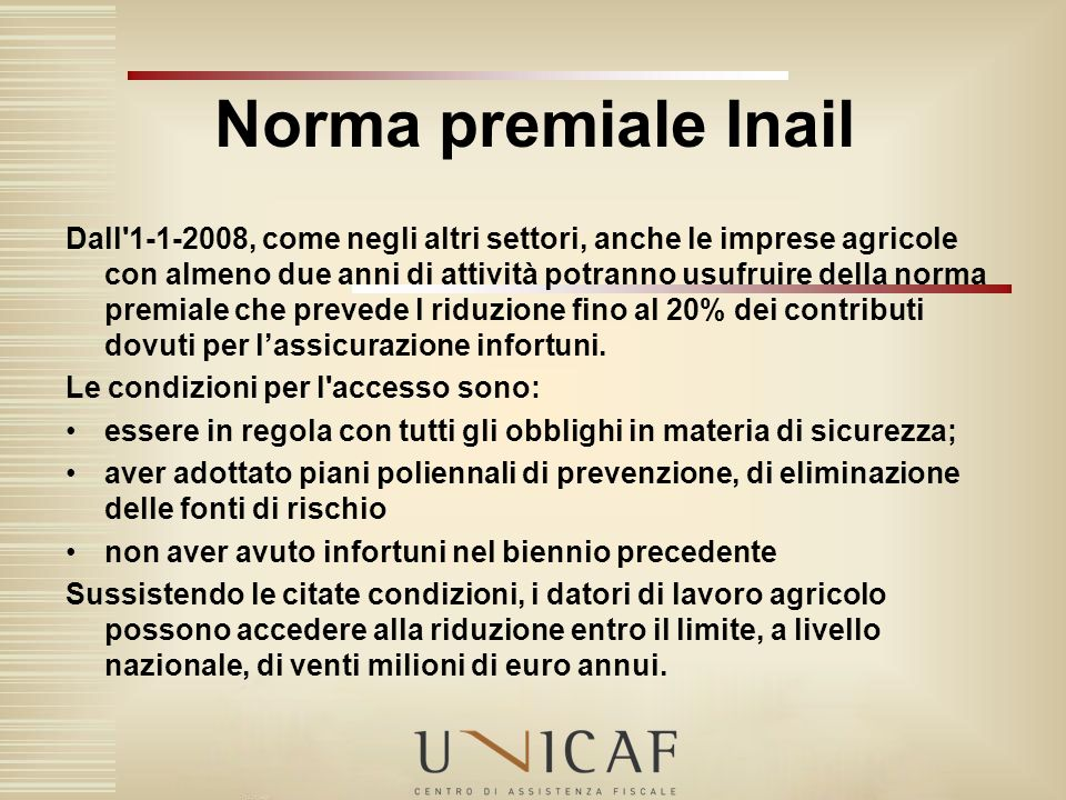 Norma premiale Inail