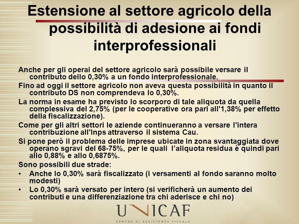Estensione al settore agricolo della possibilità di adesione ai fondi interprofessionali