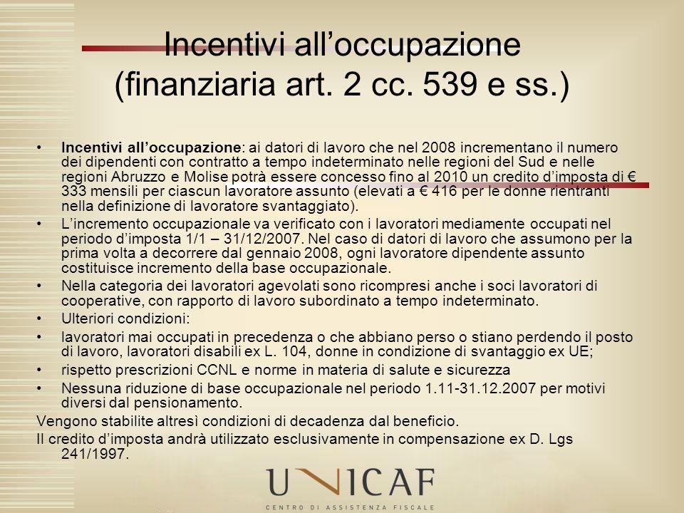 Incentivi all'occupazione (finanziaria art. 2 cc. 539 e ss.)