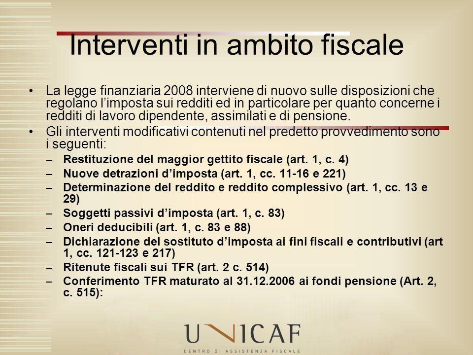 Interventi in ambito fiscale