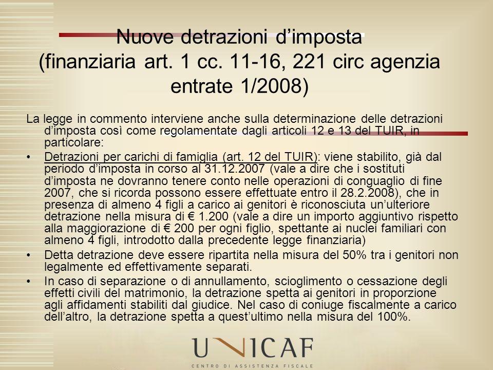 Nuove detrazioni d'imposta (finanziaria art. 1 cc