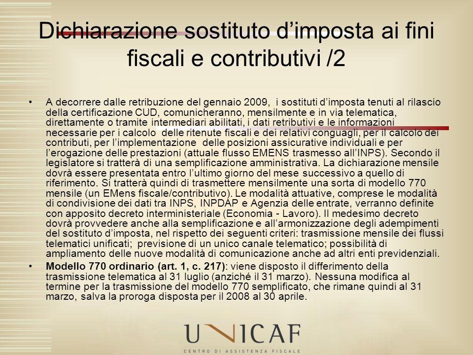 Dichiarazione sostituto d'imposta ai fini fiscali e contributivi /2