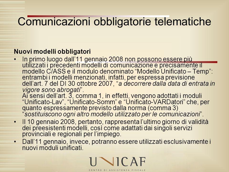 Comunicazioni obbligatorie telematiche