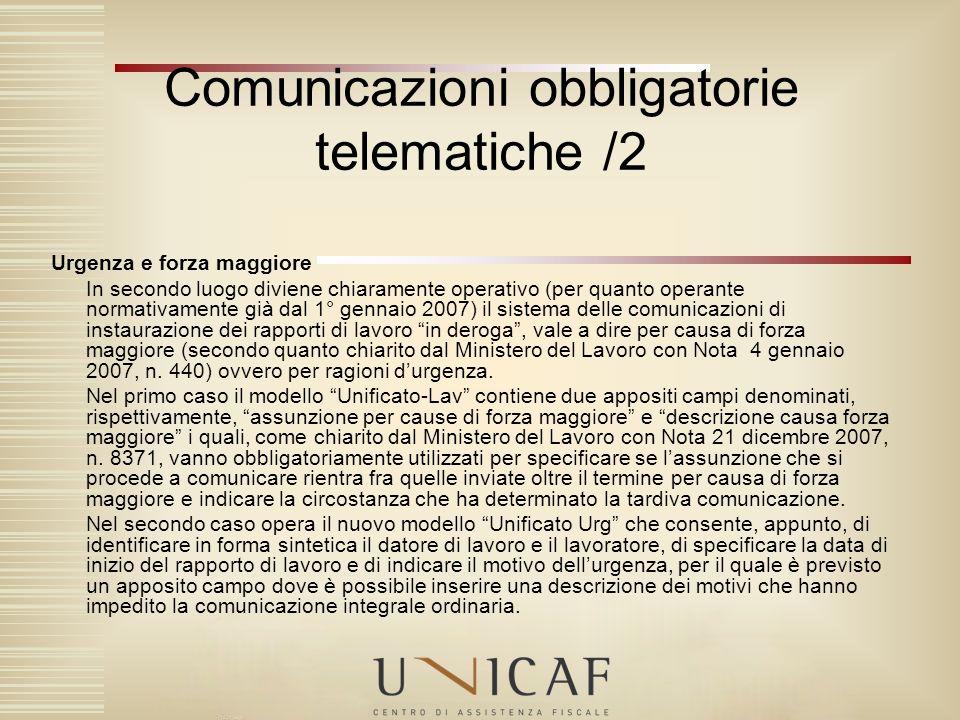 Comunicazioni obbligatorie telematiche /2