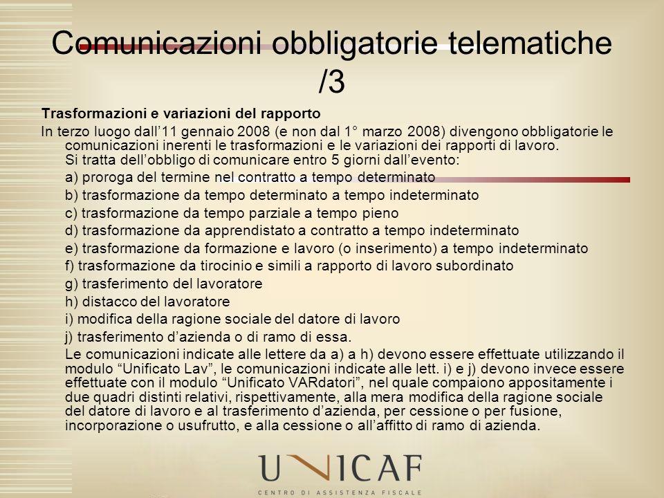 Comunicazioni obbligatorie telematiche /3