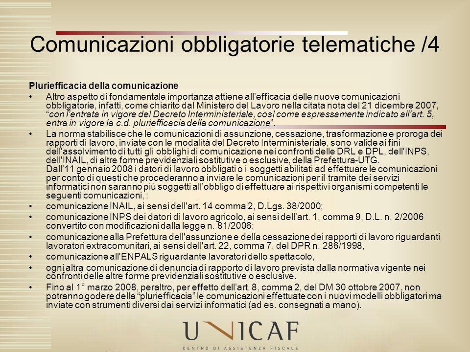 Comunicazioni obbligatorie telematiche /4