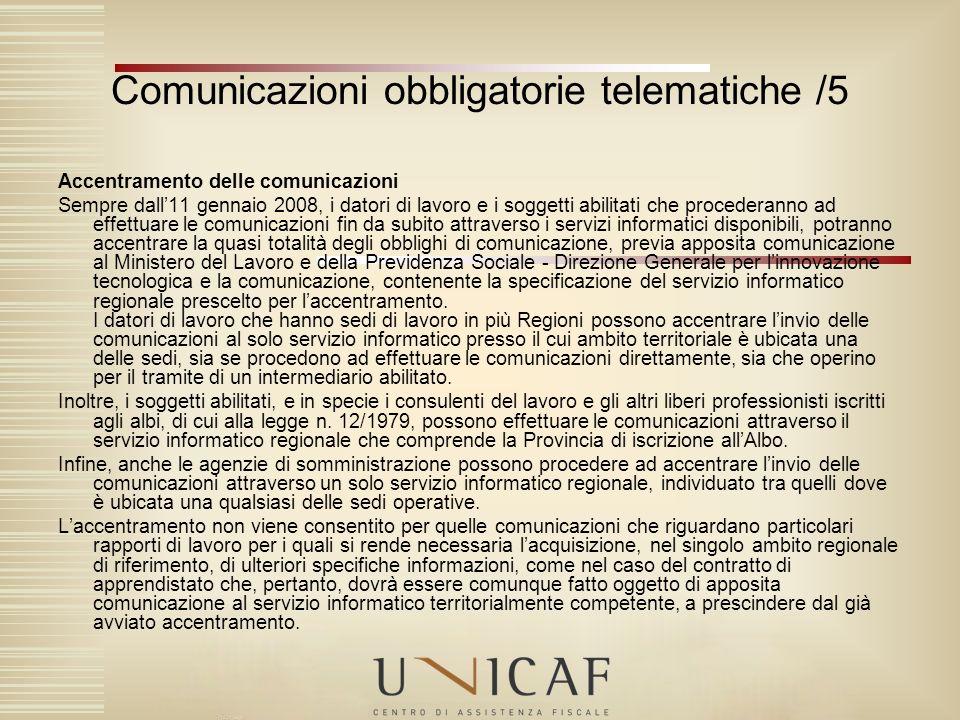 Comunicazioni obbligatorie telematiche /5