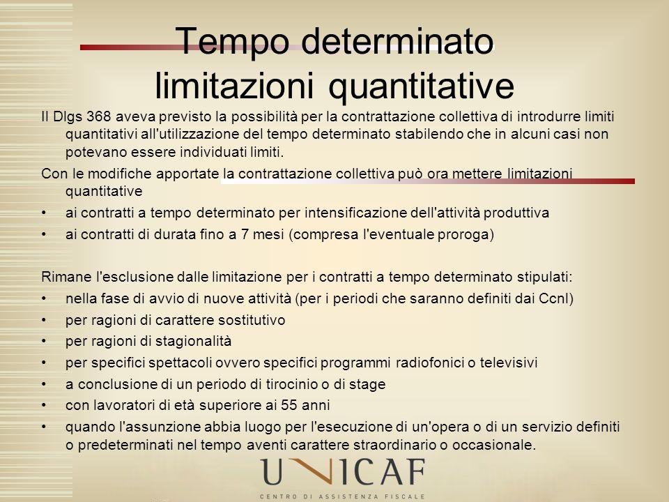 Tempo determinato limitazioni quantitative