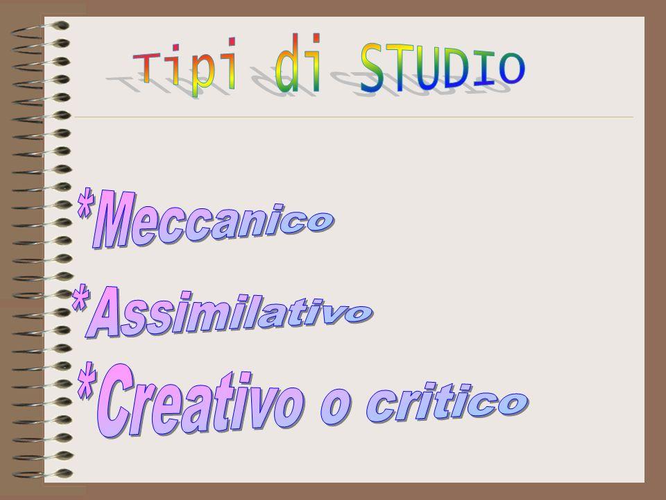 Tipi di STUDIO *Meccanico *Assimilativo *Creativo o critico