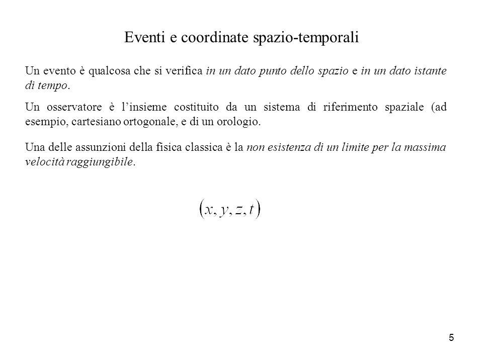 Eventi e coordinate spazio-temporali