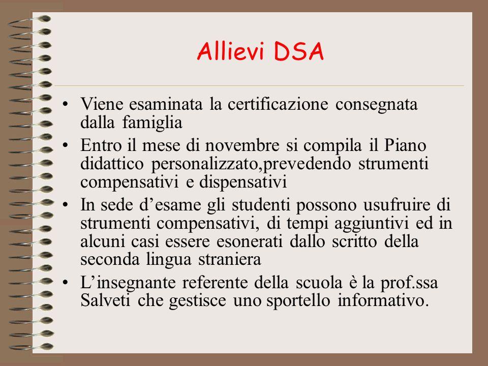 Allievi DSA Viene esaminata la certificazione consegnata dalla famiglia.