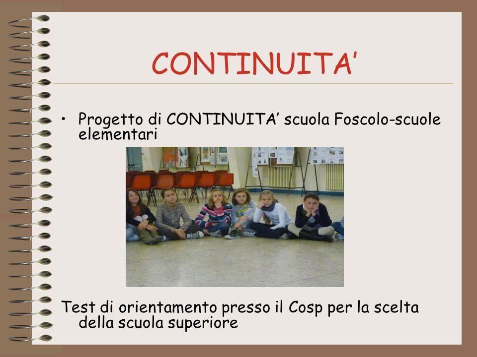 CONTINUITA' Progetto di CONTINUITA' scuola Foscolo-scuole elementari