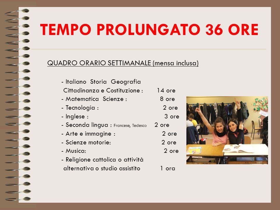 TEMPO PROLUNGATO 36 ORE QUADRO ORARIO SETTIMANALE (mensa inclusa)