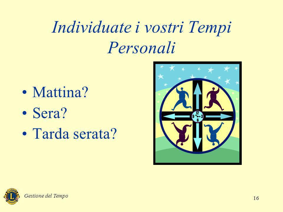 Individuate i vostri Tempi Personali
