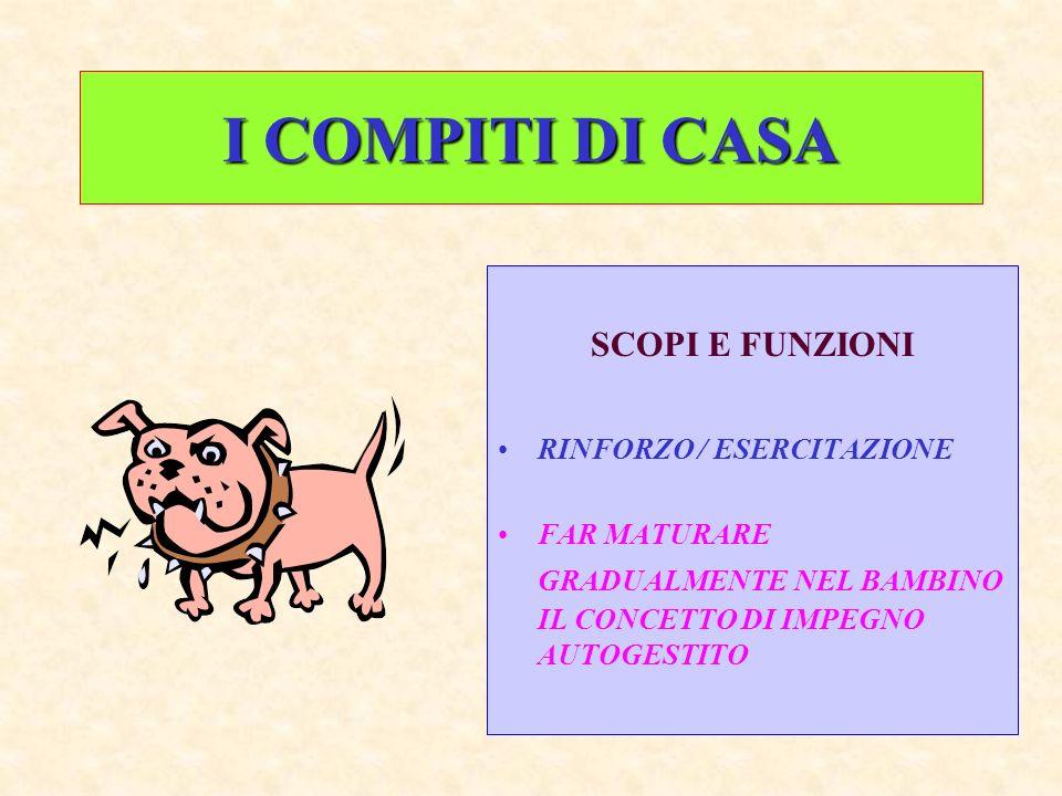 I COMPITI DI CASA SCOPI E FUNZIONI RINFORZO / ESERCITAZIONE