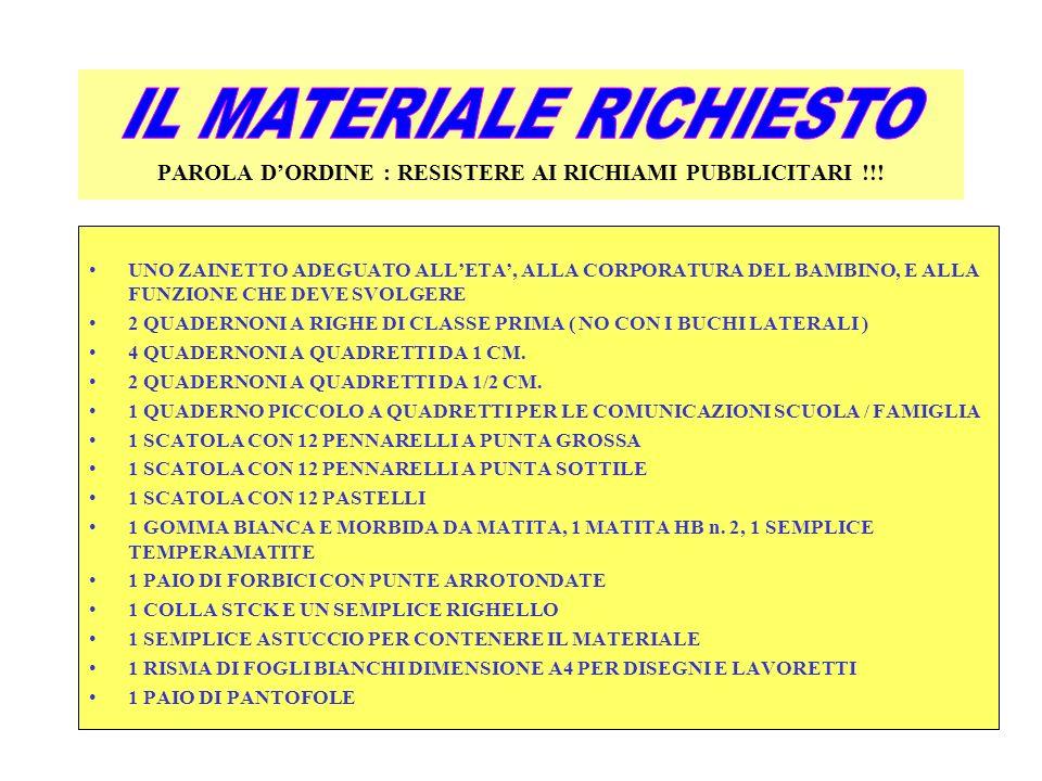 PAROLA D'ORDINE : RESISTERE AI RICHIAMI PUBBLICITARI !!!