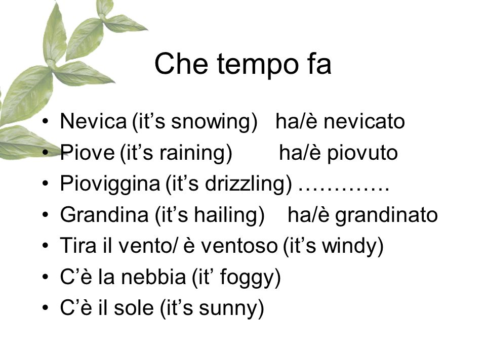 Che tempo fa Nevica (it's snowing) ha/è nevicato