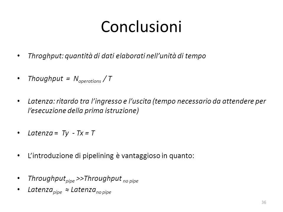 Conclusioni Throghput: quantità di dati elaborati nell'unità di tempo