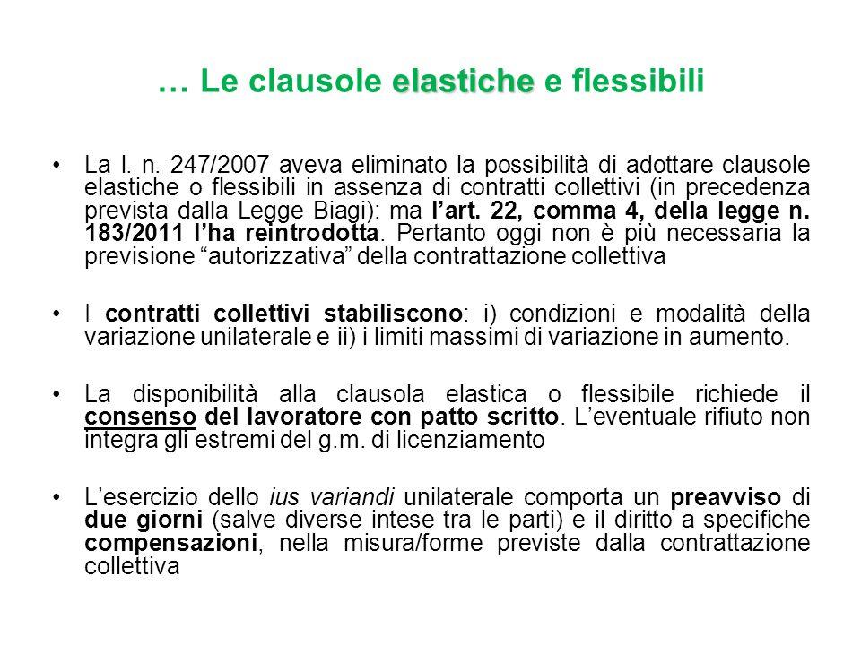 … Le clausole elastiche e flessibili