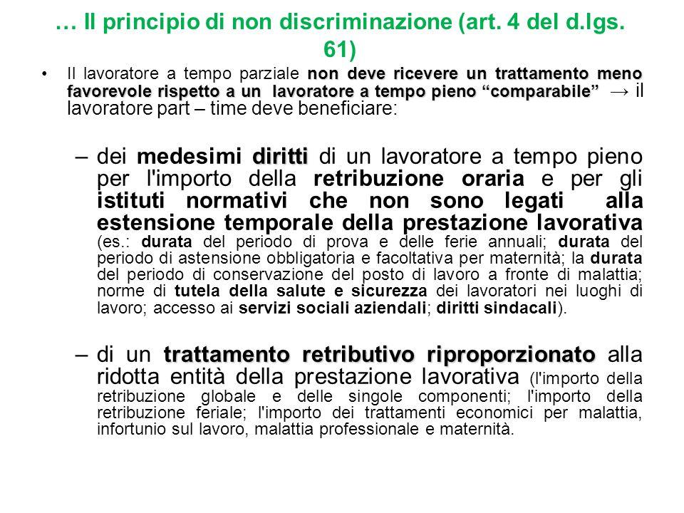 … Il principio di non discriminazione (art. 4 del d.lgs. 61)