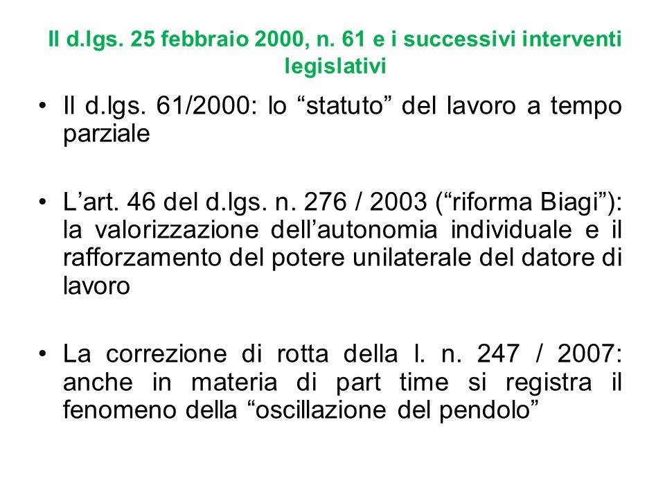Il d.lgs. 61/2000: lo statuto del lavoro a tempo parziale