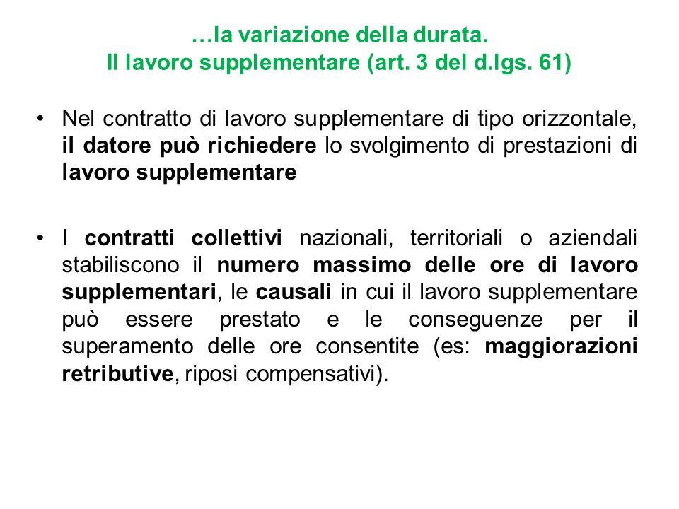 …la variazione della durata. Il lavoro supplementare (art. 3 del d.lgs. 61)