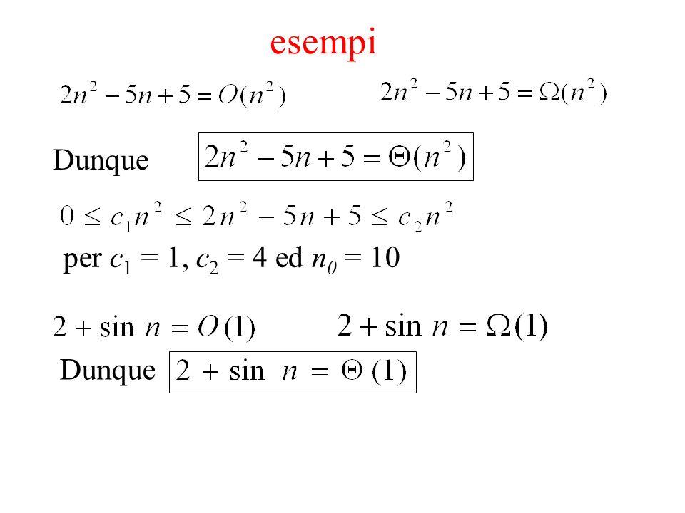esempi Dunque per c1 = 1, c2 = 4 ed n0 = 10 Dunque